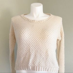 FRESHMAN 1996 Cropped Cable Knit Sweater Cream XL